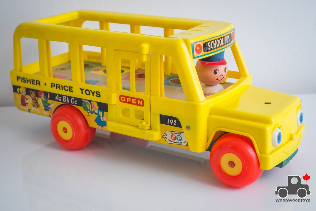 Vintage Fisher Price School Bus #192 - Wood Wood Toys Canada's Favourite Montessori Toy Store
