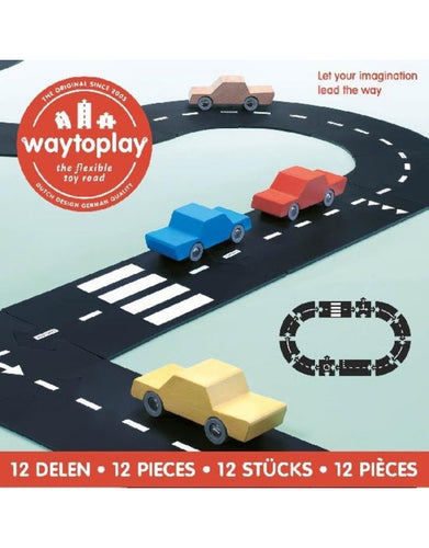 Waytoplay Flexible Roads - Ringroad Set (12 pieces) - Wood Wood Toys Canada's Favourite Montessori Toy Store