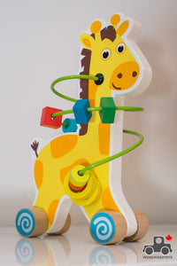 Wheeled Giraffe Bead Toy - Wood Wood Toys Canada's Favourite Montessori Toy Store