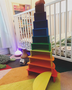 Wood Wood Exclusive EXTRA LARGE Rainbow Montessori Stacker - Wood Wood Toys Canada's Favourite Montessori Toy Store
