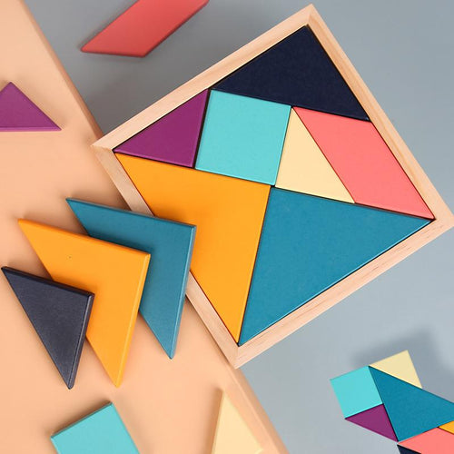 Wood Wood Exclusive Geometric Tangram Puzzle (Pastel Version) - Wood Wood Toys Canada's Favourite Montessori Toy Store