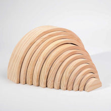 Load image into Gallery viewer, Wood Wood Exclusive NATURAL WOOD EXTRA LARGE Rainbow Montessori Stacker - Wood Wood Toys Canada's Favourite Montessori Toy Store