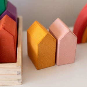 Wood Wood Exclusive Rainbow House Blocks by Avdar - Wood Wood Toys Canada's Favourite Montessori Toy Store