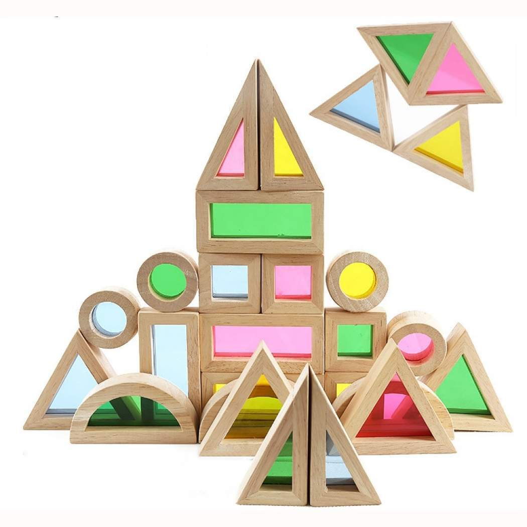 Wood Wood Exclusive Translucent Rainbow Building Block Set - Wood Wood Toys Canada's Favourite Montessori Toy Store