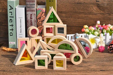 Load image into Gallery viewer, Wood Wood Exclusive Translucent Rainbow Building Block Set - Wood Wood Toys Canada's Favourite Montessori Toy Store