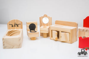Wooden Doll House Toy Furniture (Lot of 10) - Wood Wood Toys Canada's Favourite Montessori Toy Store