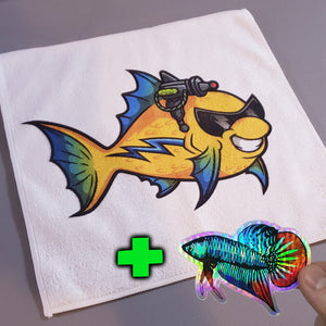 Micro Fiber Aquarium Cloth w/FREE Holographic Wild Betta Sticker - AQUAPROS