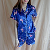 Silk Sleepwear - Blue Flamingo