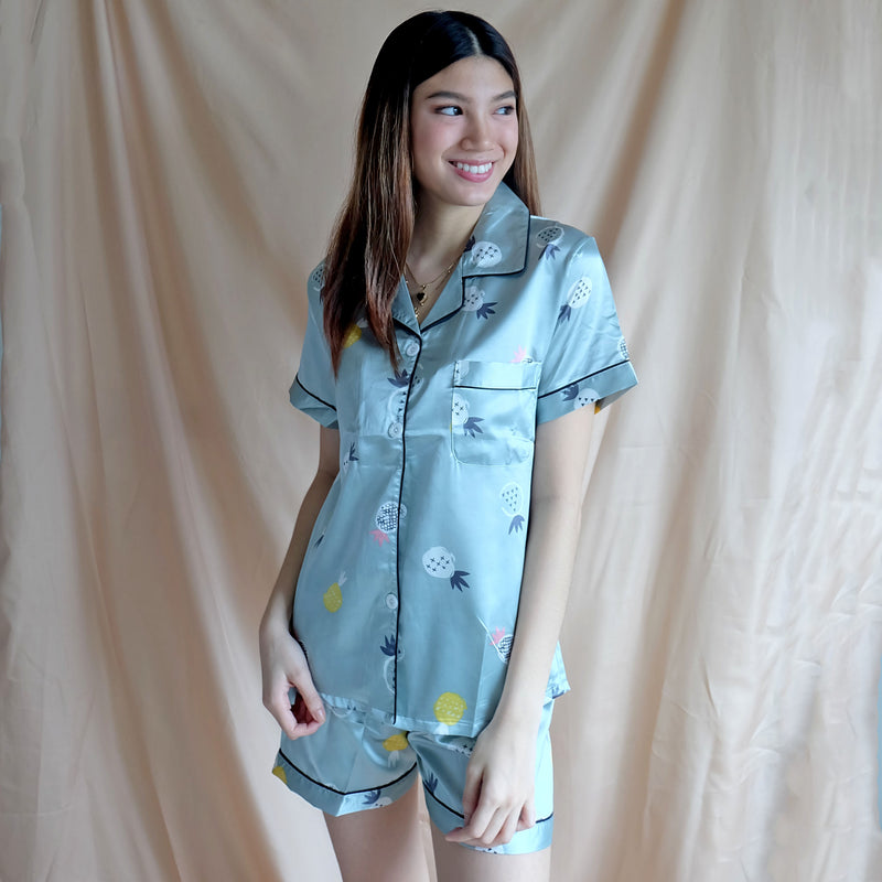 Silk Sleepwear - Mint Pineapple