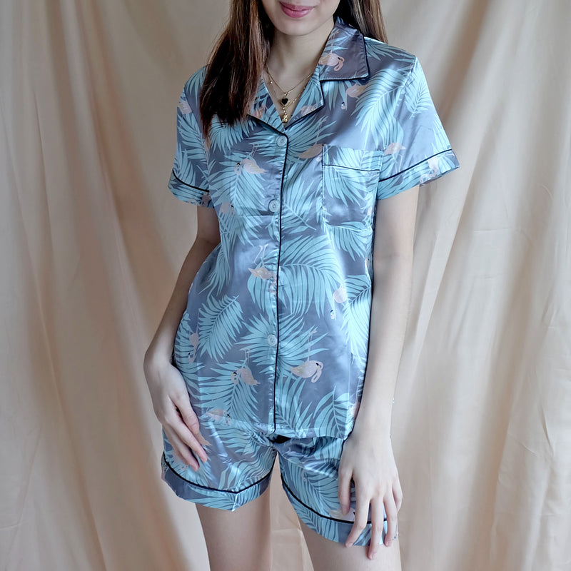 Silk Sleepwear - Light Blue Flamingo