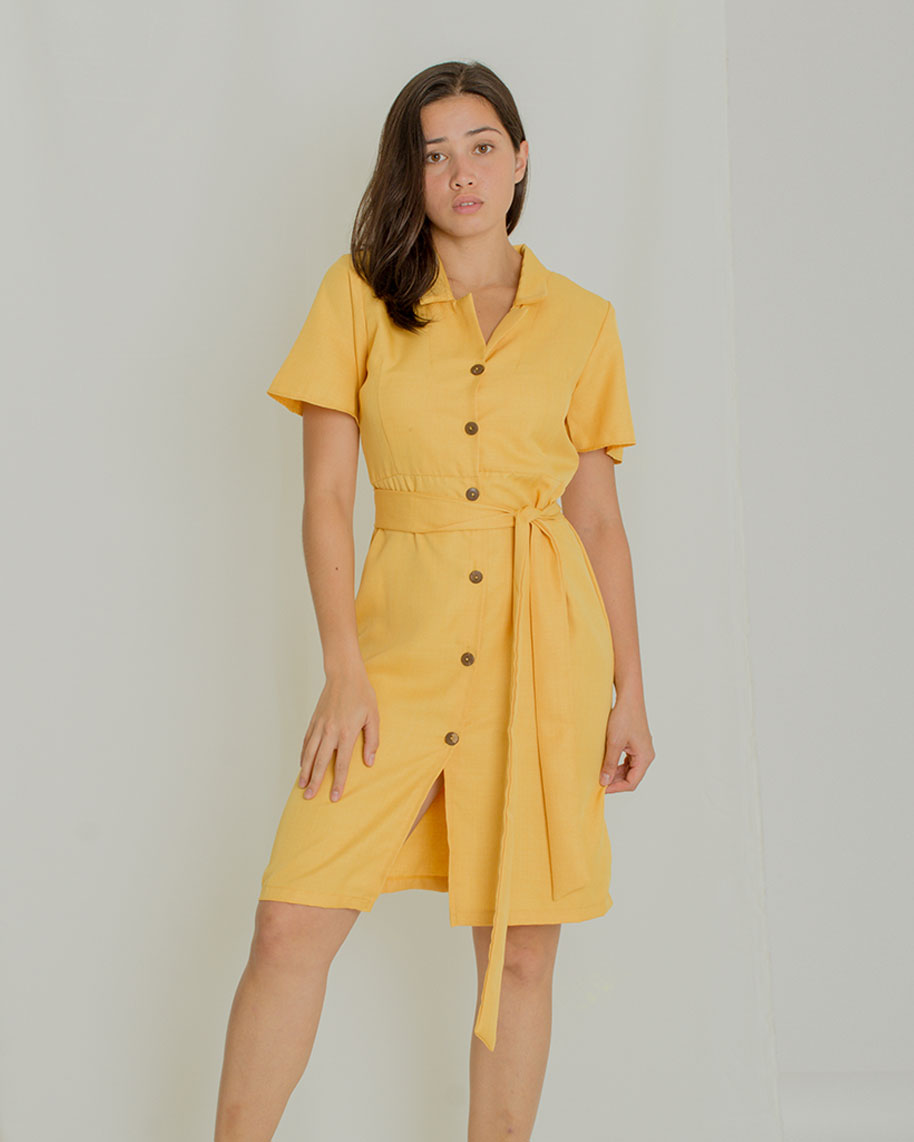 Regine Button-down Dress - Mustard