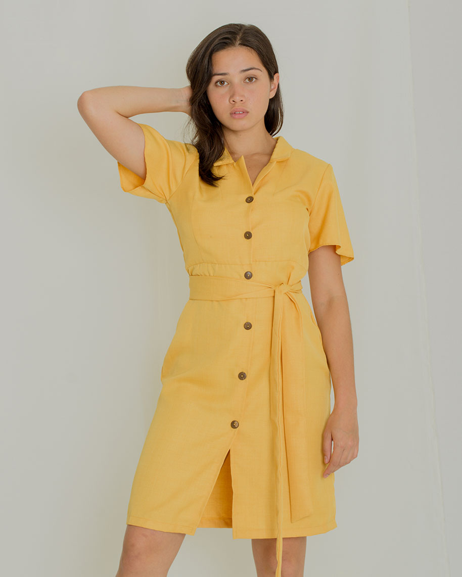 Regine Button-down Dress in Mustard