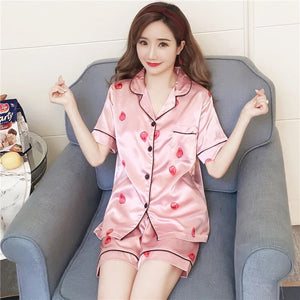 Silk Sleepwear - Pink Strawberry