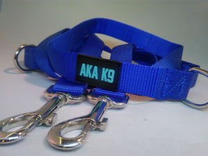 AKA K9 Blue Dog Lead Police Style Leash Multi-Function Double Ended