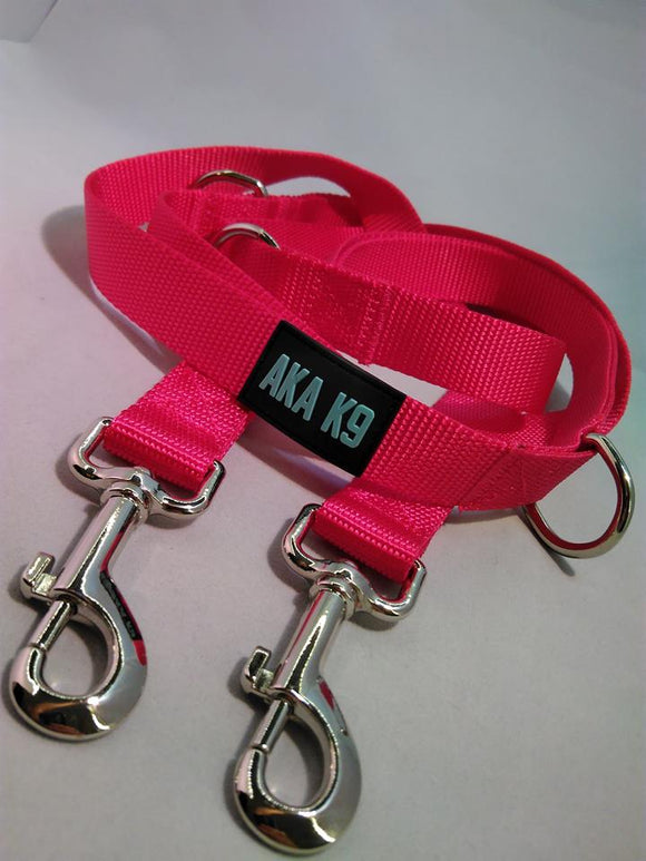 AKA K9 Pink Dog Lead Police Style Leash Multi-Function Double Ended