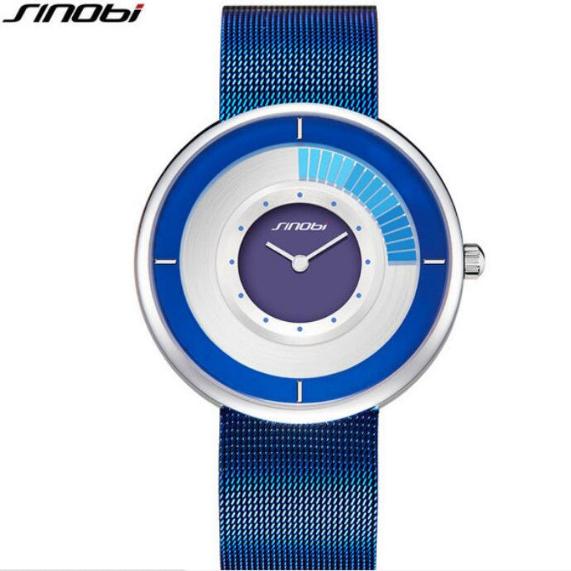 SINOBI unique rotating luxury ultra-thin steel watch