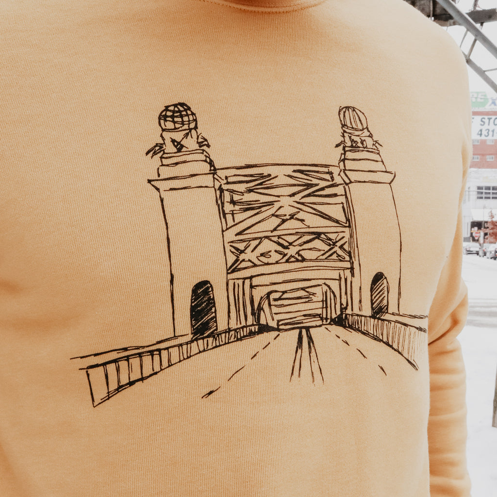Sixteenth St. Bridge Crewneck Collaboration Local Illustrator and Artist, C.B Perry (@cbperry_)