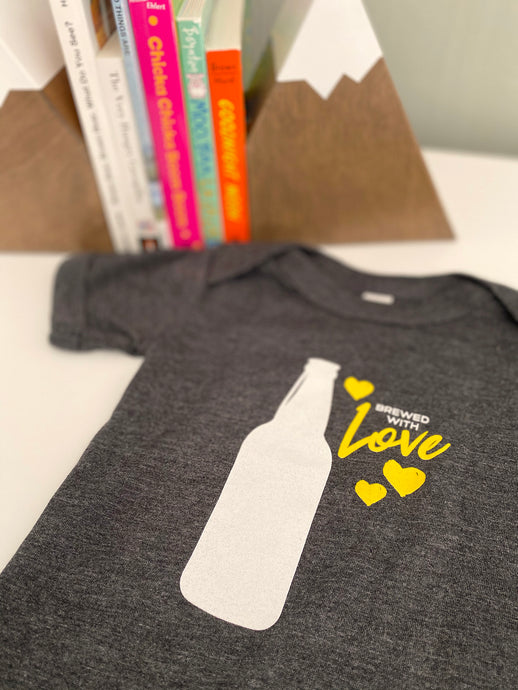 Brewed with Love Short Sleeve Onesie (Beer Edition) Printed by Revival Print Co.