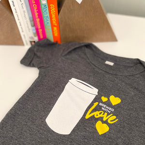 Brewed with Love Short Sleeve Onesie (Coffee Edition) Printed by Revival Print Co.