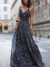Leopard V Neck Spaghetti Strap Maxi Dress