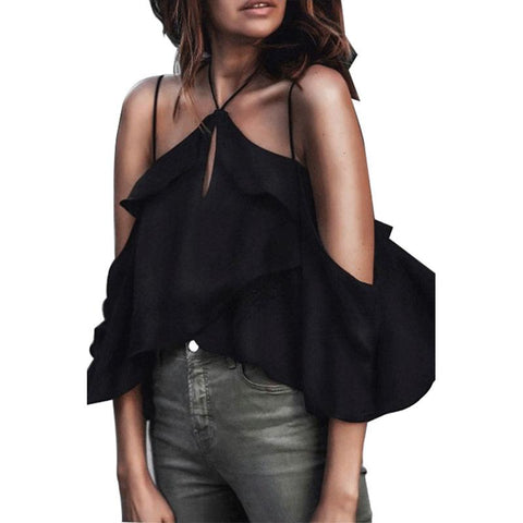 Halter Backless Flounce Plain Blouses