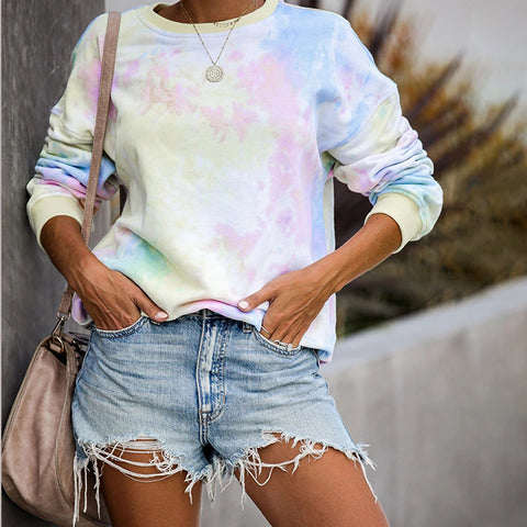 Casual Round Neck Gradual Change Sweatshirt