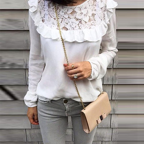 Round Neck  Patchwork Plain  Blouses