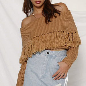 Casual Boat Neck Tassel Sweater
