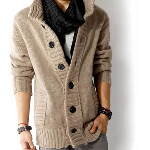 Men's Stand Collar Cardigan Sweater