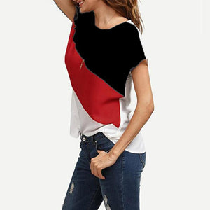 Round Neck  Single Button  Color Block T-Shirts