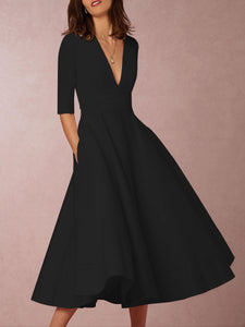 Sexy Deep V-Neck Solid Midi Skater Dress