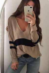 V Neck Knit Hollow Out Sweaters