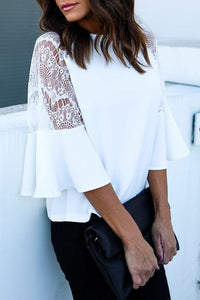 Round Neck  Patchwork  Crochet  Plain  Bell Sleeve Blouses