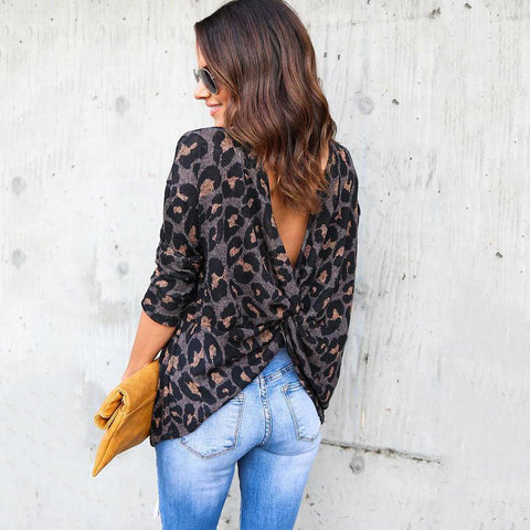 Backless  Leopard T-Shirts