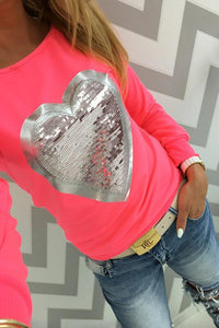 Round Neck  Patchwork  Glitter  Color Block T-Shirts