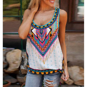 Printing Flower Sleeveless Irregular T-Shirt