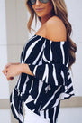 Off Shoulder  Striped  Batwing Sleeve  Blouses