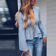 Deep V Neck  Gingham  Bell Sleeve  Blouses