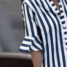 Fashion Button Stripes Half Sleeve Shirt