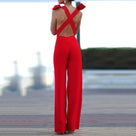 Sexy Elegant Red Backless Jumpsuit
