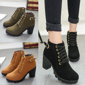 Plain  Chunky  High Heeled  Velvet  Round Toe  Outdoor High Heels Boots