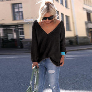 Fashion Long Sleeves Loose V Neck Sweater