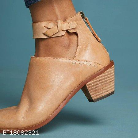 Stylish Chunky Heel Ankle Strap Daily Zipper Boots