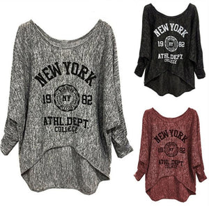 Round Neck Printed  Batwing Sleeve T-Shirts