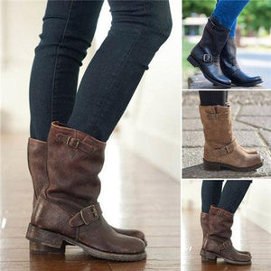 Women's Plain Mid High Boots Round Toe Belt Buckle Boots