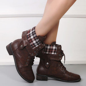 Plain  Flat  Criss Cross  Round Toe  Date Outdoor  Mid Calf Flat Boots
