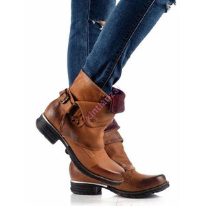 Stylish Women Retro Artificial PU Side Zipper Boots