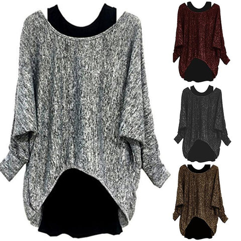 Two Pieces Casual Long Batwing Sleeve T-Shirts