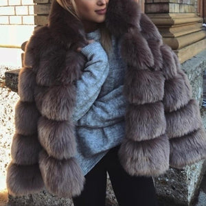 Turtle Neck Long Sleeve Elegant Faux Fur Coats