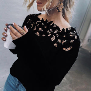 Autumn Fashion Sexy Hollow Neck Blouses